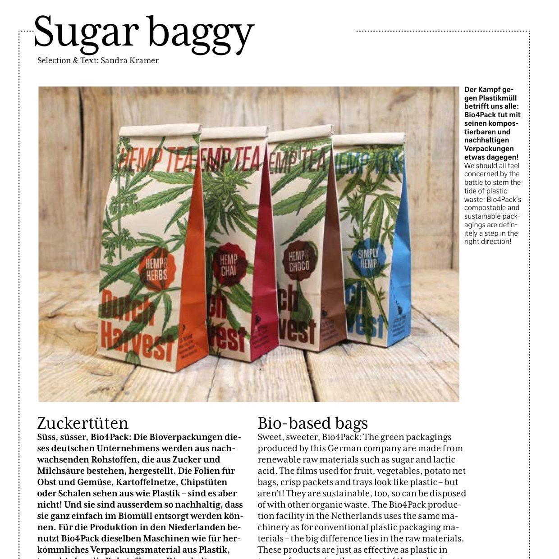 Swiss air Magazine schrijft over de verpakking van Dutch Harvest hennepthee